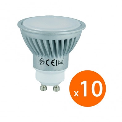 Lot de 10 ampoules LED - culot GU10 - 7W Consommés - Équivalent 50W - blanc chaud | Led Flash