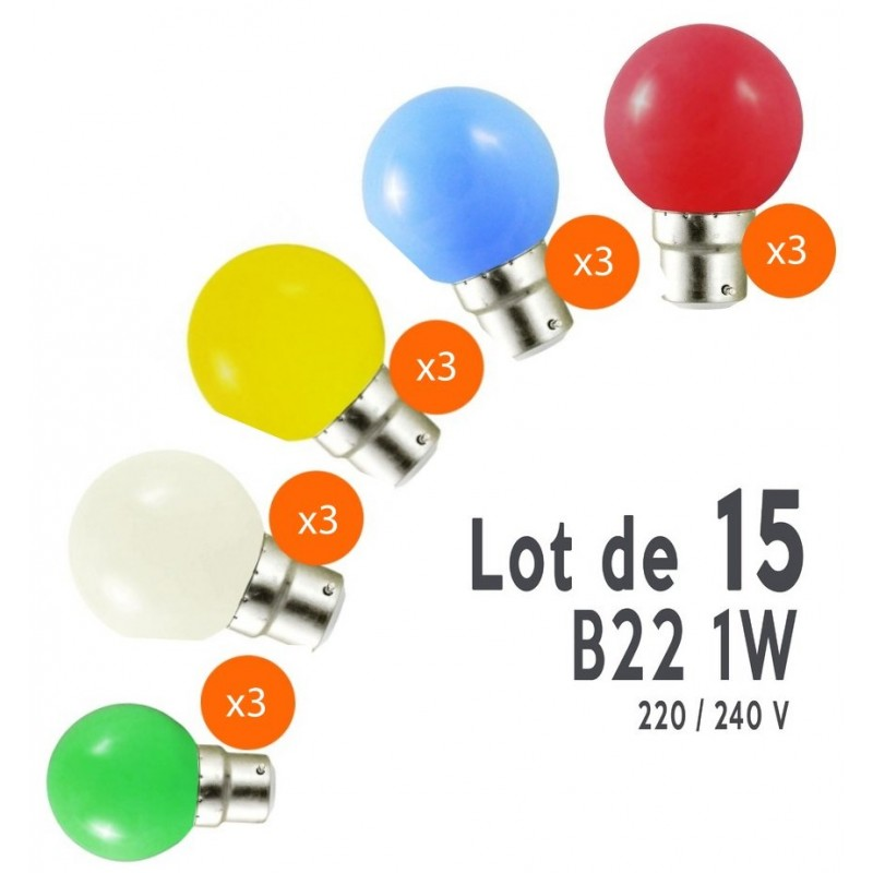 Ampoule led e27 deco pour guirlande lot de 15 for Ampoule de couleur castorama