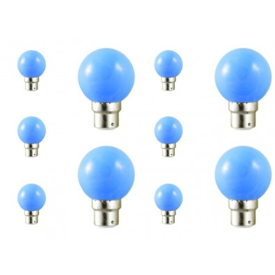 Lot de 10 ampoules led B22 pour guirlande lumineuse - bleu|Led Flash