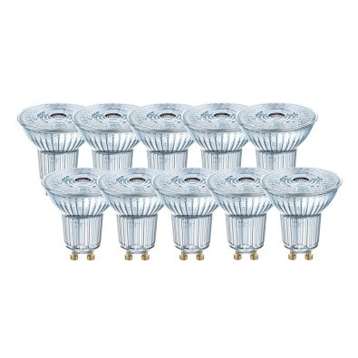 Lot de 10 Spots LED GU10 PAR16 36° 4,3 watt (eq. 50W) GU10 blanc chaud