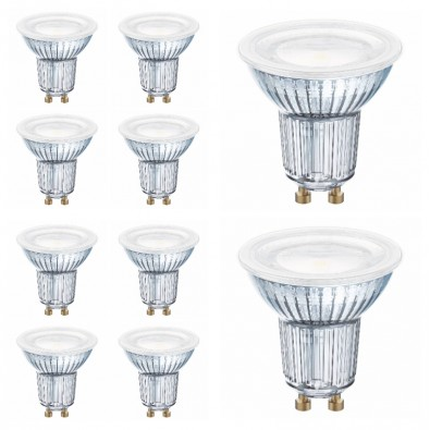 Lot de 10 Spots LED GU10 PAR16 120° 6,9 watt (eq. 80W) GU10 blanc chaud