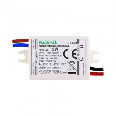 Alimentation 12Vdc 350mA LED 5 Watt IP67