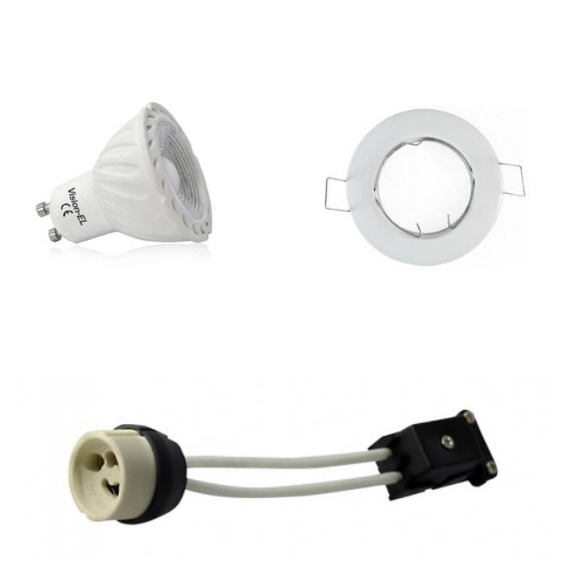 kit spot led gu10 cob 5 watt eq 50 watt dimmable support blanc. Black Bedroom Furniture Sets. Home Design Ideas